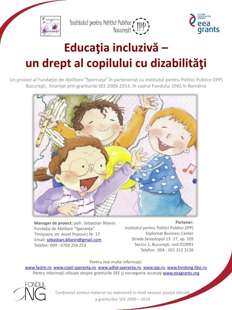 Poster Educatia inclusiva drept al copiilor cu  disabilitati